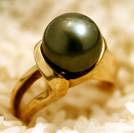 Ring 14K Black Tahitian Cultured Pearl # 3483