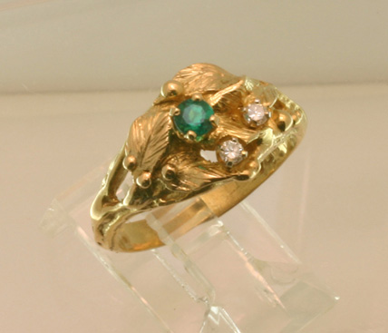 Emerald Wedding Ring, 14K yellow gold