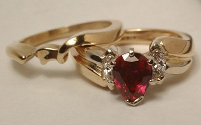Ruby Wedding Set, 14K yellow gold, Marquise diamon