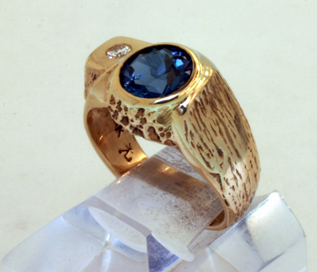 Ring Gent's 14K Gold Blue Topaz Diamond Accent