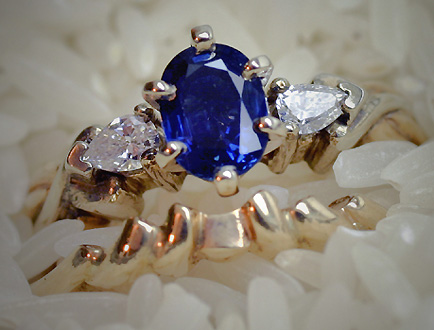 Engagement and Wedding Ring Set, Sapphire and Diam