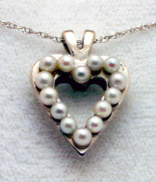 Pendant 14K White Gold Heart, Akoya Cltured Pearls