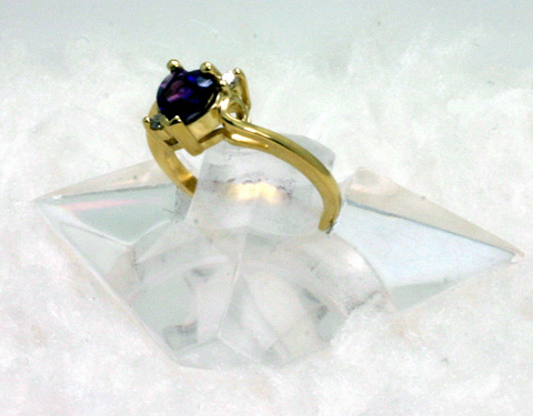 14K Gold Ring with Amethyst Heart