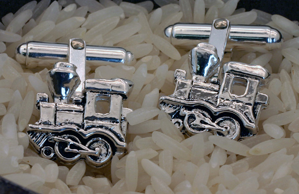 "Cufflinks Sterling Silver ""Whimsical Train"""