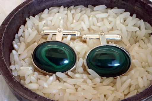 Cufflinks Sterling Silver Malachite