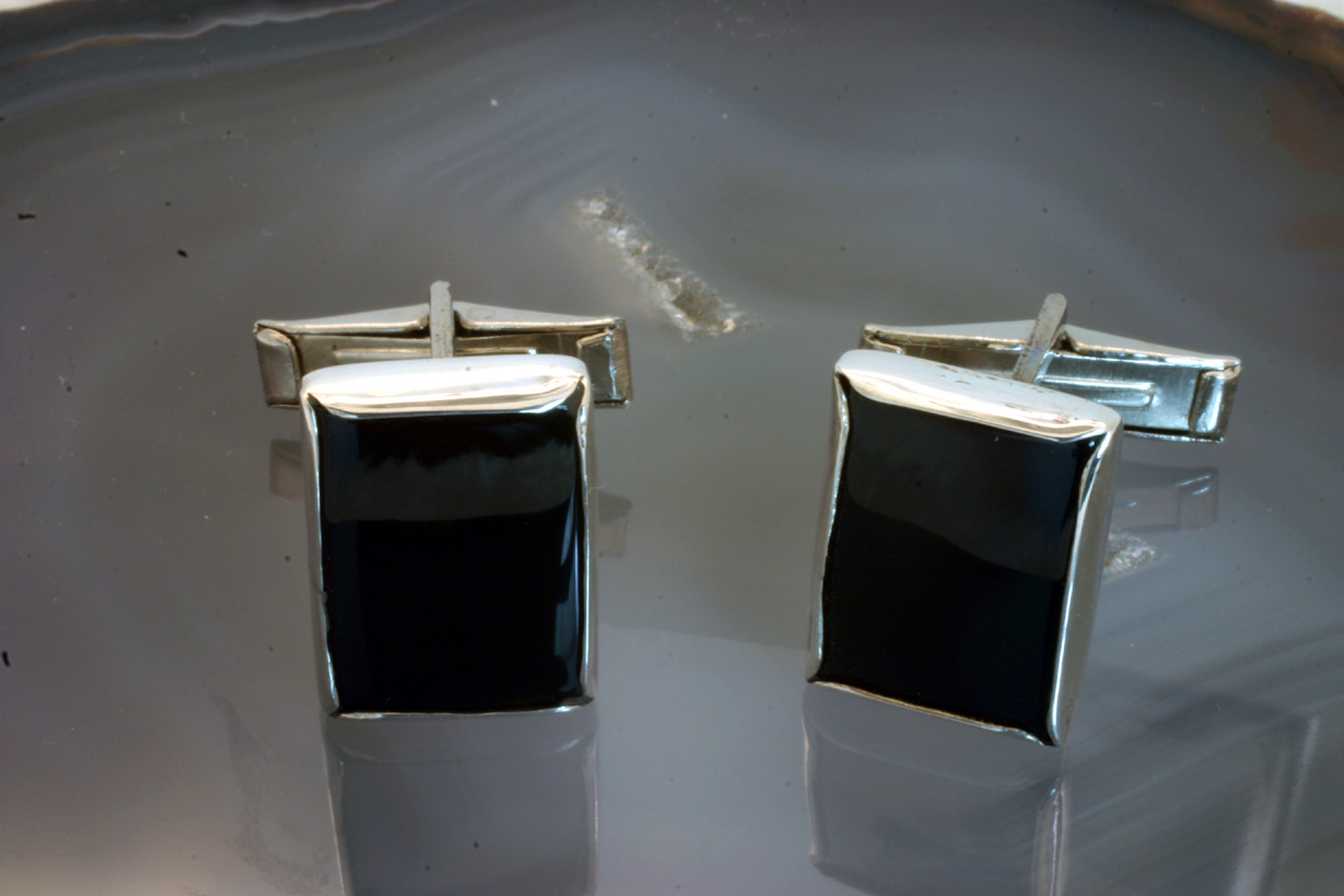 cufflinks Sterling Silver Black Onyx rectangular