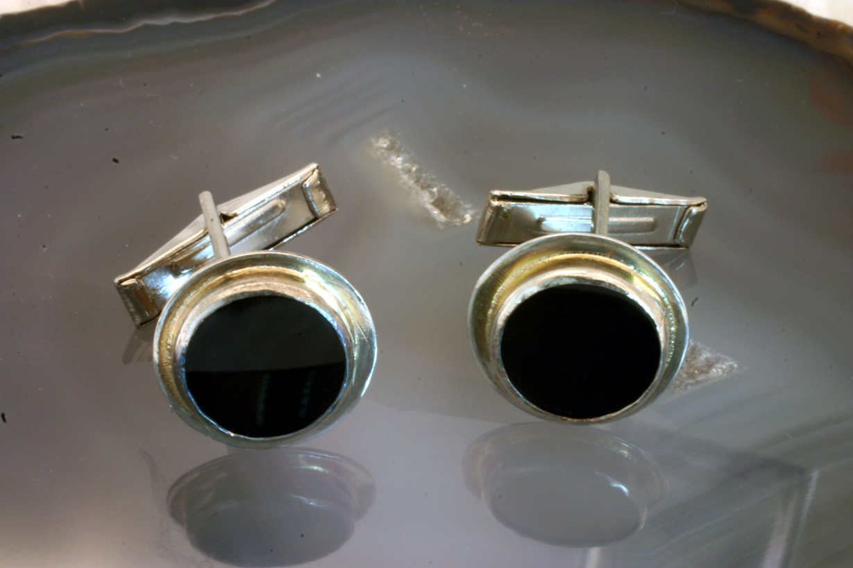 Cufflinks Sterling Silver Black Onyx discs