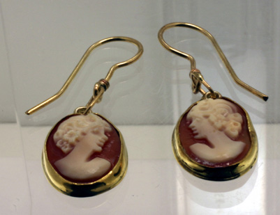 Earrings, Cameo Bezel-Set in 18K, post-14K  4656