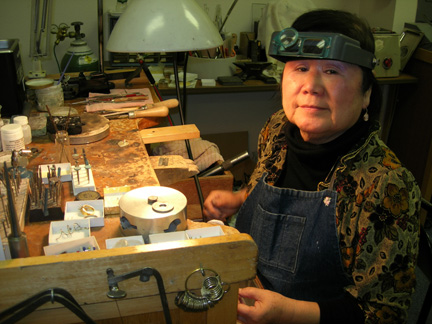 Mitsuko in her Studio at her Jeweler's Bench