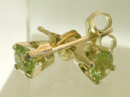 Peridot Gold Post Earrings #4381 $149