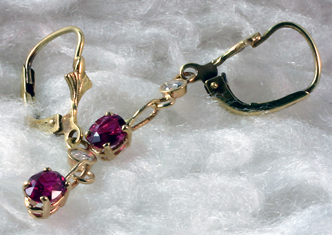 Ruby Dangling Earrings with Diamond Accent