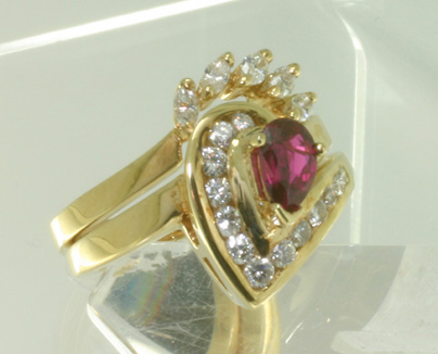 Wedding Set ruby in a Heart of Diamonds
