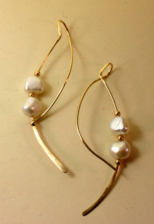 Earrings 14K Gold, Freshwater Pearls