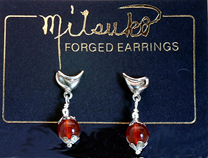 Carnelian, Sterling Silver Drop Earrings $58