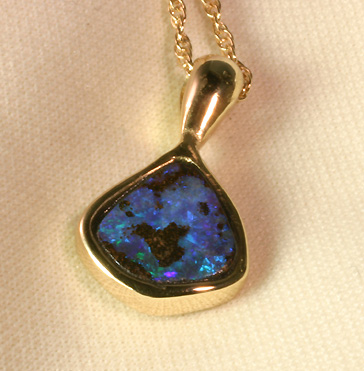 Pendant, Black Opal inlaid in 14K Gold # 6653