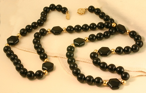 "Black Onyx Necklace,27"",14K Beads&Clasp #6800 $226"