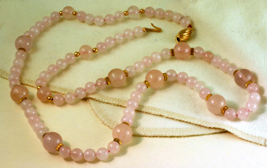 "Rose Quartz Necklce,24"",Gold Clasp&Beads #6838$312"