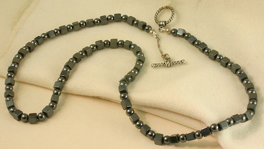 Necklace, Hemitite Beads, Silver Clasp # 6853