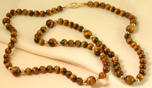 "Tiger Eye Necklace,25"", Gold claspBeads #6869$355"