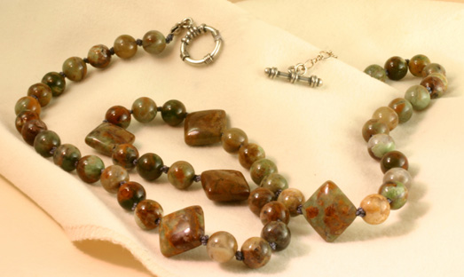 "Jasper Necklace,22"",S Silver Toggle Clasp"