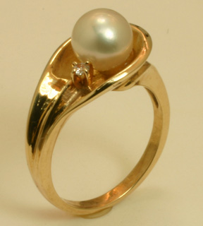 Ring 14K Akoya Cultured Pearl, Diamond Accent #774