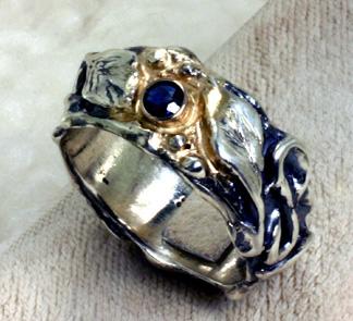 Band Sterling Silver Blue Sapphire Leaves Vine