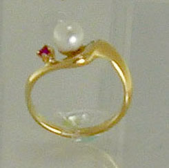 Ring, 14K Gold, Akoya Cultured Pearl, Ruby accent