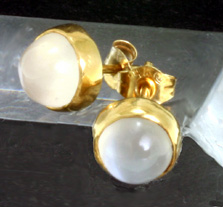Cat's eye Moonstone Earrings, 14 K ello Gold $220