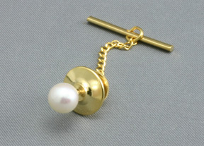 tie tack 14K Gold, Akoya Cultured Pearl