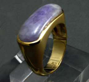 Ring 14 K Gold Saddle Cut Purple Jade Gents