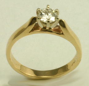 Engagement Ring, 14 K yellow gold, Diamond #6374
