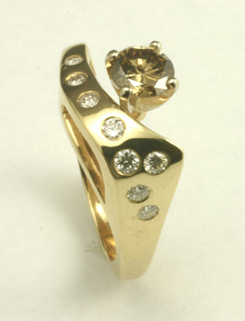 Cognac Diamond 14K Ring # 3711 $3,600