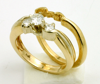 Wedding and Engagement Matching set, 14K, Diamonds